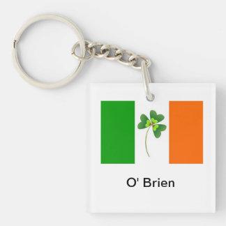 Personalized Irish Flag Keyring Single-Sided Square Acrylic Key Ring