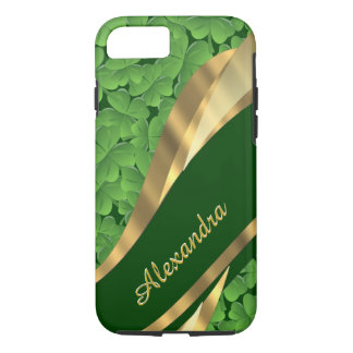Personalized Irish green shamrock pattern iPhone 7 Case