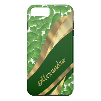 Personalized Irish green shamrock pattern iPhone 7 Plus Case