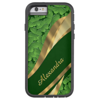 Personalized Irish green shamrock pattern Tough Xtreme iPhone 6 Case