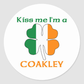 Personalized Irish Kiss Me I'm Coakley Round Sticker
