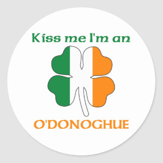 Personalized Irish Kiss Me I'm O'Donoghue Round Sticker