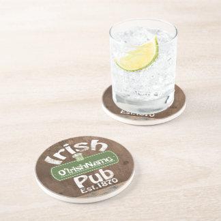 Personalized Irish Pub Old Keg Effect Sign Beverage Coasters