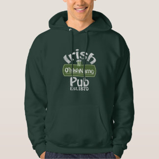 Personalized Irish Pub Old Keg Effect Sign Hoodie