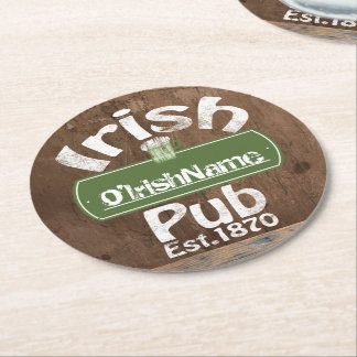 Personalized Irish Pub Old Keg Effect Sign Round Paper Coaster