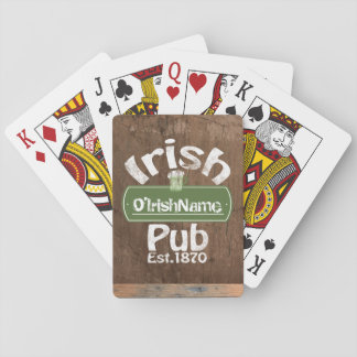 Personalized Irish Pub Old Keg Effect Sign Playing Cards