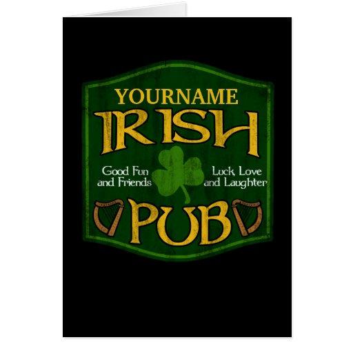 Personalized Irish Pub Sign Greeting Cards