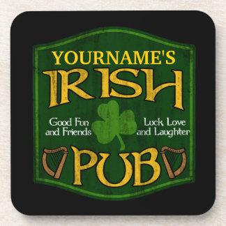 Personalized Irish Pub Sign Beverage Coasters
