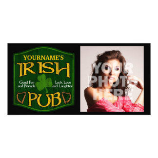 Personalized Irish Pub Sign Customized Photo Card