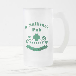 Personalized Irish Pub Sign Frosted Glass Beer Mug