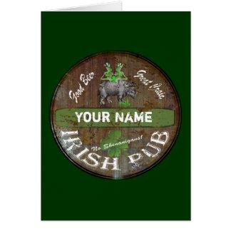 Personalized Irish pub sign Greeting Card