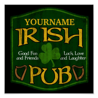 Personalized Irish Pub Sign Poster