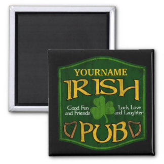 Personalized Irish Pub Sign Square Magnet
