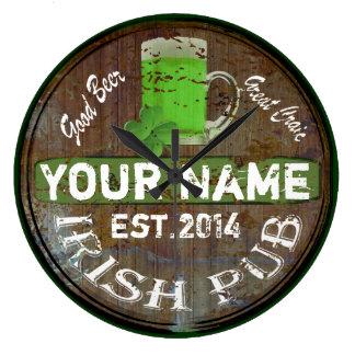 Personalized Irish pub sign Wallclocks