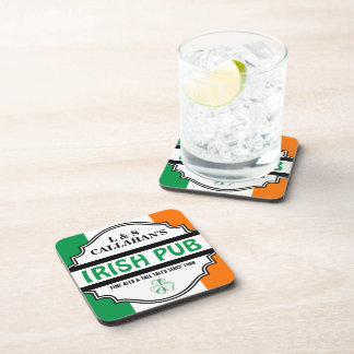 Personalized Irish Pub Tavern for Couples Drink Coasters