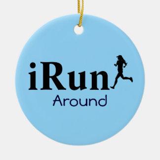 Personalized iRun Around Humorous Ornament