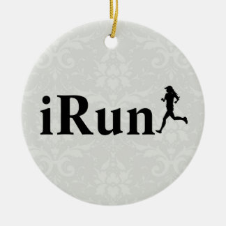 Personalized iRun Grey Damask Ornament for Women