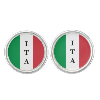 Personalized Italian flag cuff links with monogram