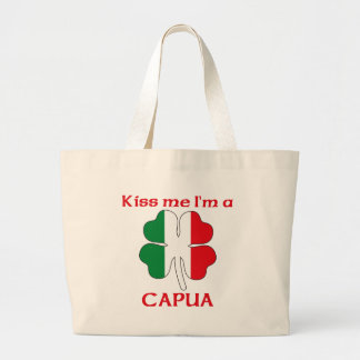 Personalized Italian Kiss Me I'm Capua Canvas Bags