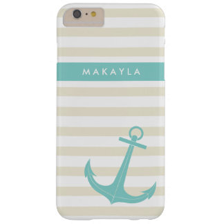 Personalized Ivory Stripes and riptide blue Anchor Barely There iPhone 6 Plus Case
