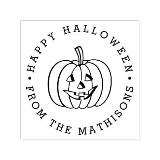 Personalized Jack O Lantern Happy Halloween Self-inking Stamp