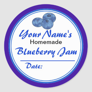 Personalized Jam Jar Labels Blueberry Jam Round Round Sticker