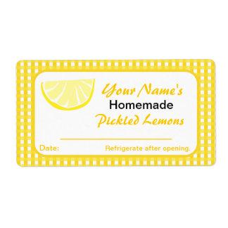 Personalized Jar Stickers Lemon Preserves Shipping Label