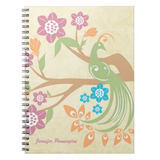 Personalized jewel toned floral peacock notebook