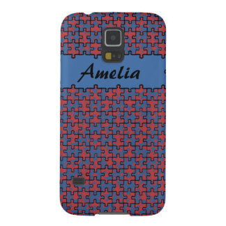 Personalized jigsaw stars blue red cases for galaxy s5