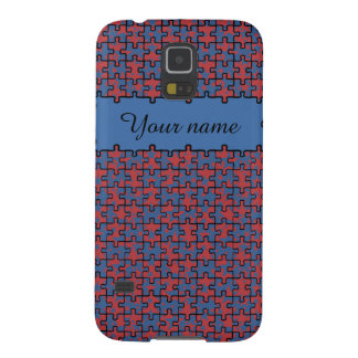 Personalized jigsaw stars blue red pattern galaxy s5 covers