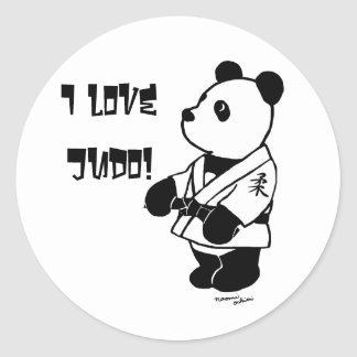 Personalized Judo Panda Cartoon Black Belt Classic Round Sticker