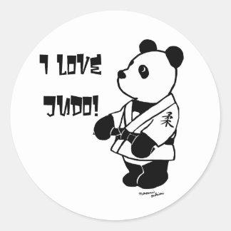 Personalized Judo Panda Cartoon Black Belt Round Sticker