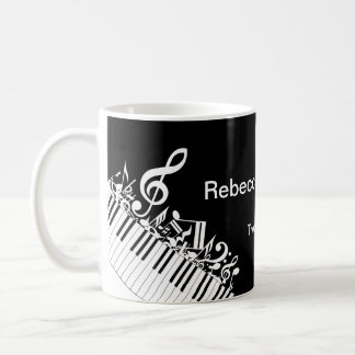 Personalized Jumbled Musical Notes and Piano Keys Coffee Mug