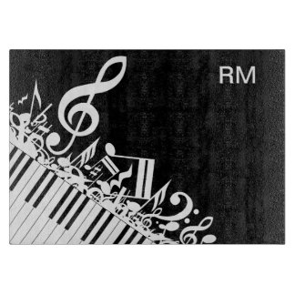 Personalized Jumbled Musical Notes and Piano Keys Cutting Board