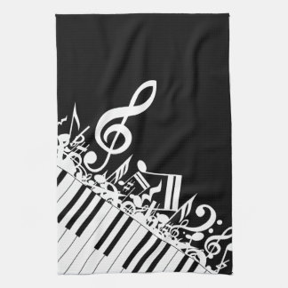 Personalized Jumbled Musical Notes and Piano Keys Hand Towels