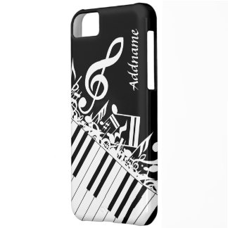 Personalized Jumbled Musical Notes and Piano Keys iPhone 5C Case