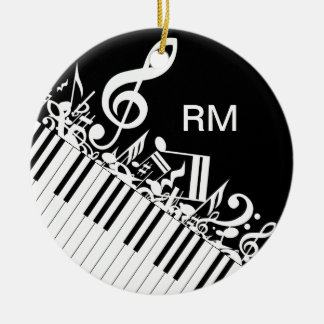 Personalized Jumbled Musical Notes and Piano Keys Round Ceramic Decoration