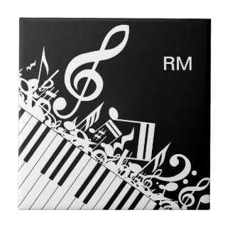 Personalized Jumbled Musical Notes and Piano Keys Small Square Tile