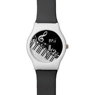 Personalized Jumbled Musical Notes and Piano Keys Watch