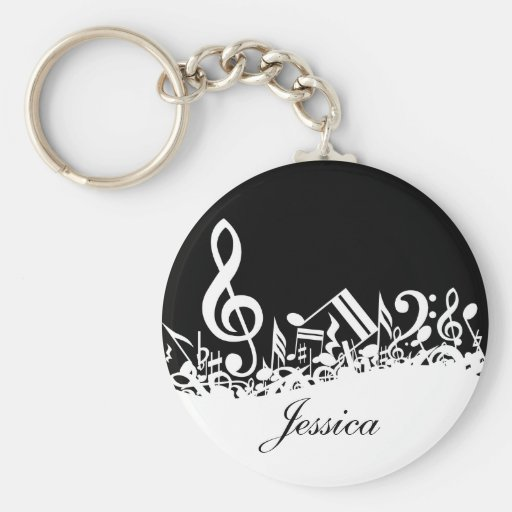 Personalized Jumbled Musical Notes Keychain