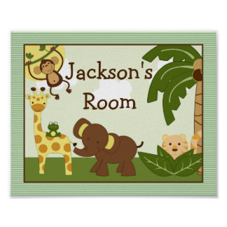 "Personalized ""Jungle Babies Animals"" Poster Art"
