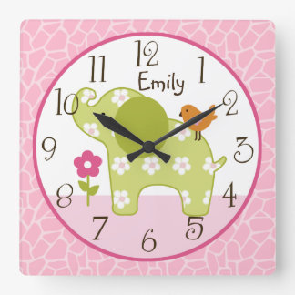 Personalized Jungle Girl Elephant  Nursery Clock