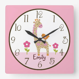 Personalized Jungle Jill Giraffe Nursery Clock