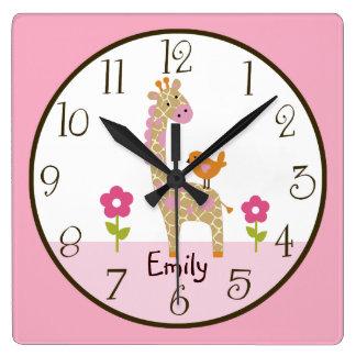 Personalized Jungle Jill Giraffe Nursery Clock