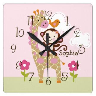 Personalized Jungle Jill/Girl Animal Nursery Clock