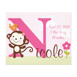 Personalized Jungle Monkey Girl  Canvas Art Stretched Canvas Print