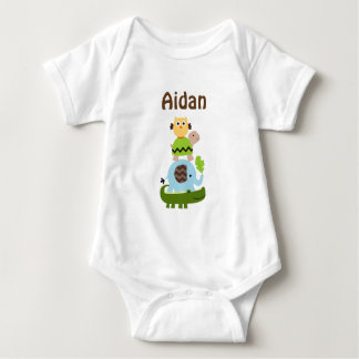 Personalized Jungle Stack Animals Baby Shirt