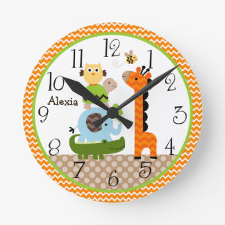 Personalized Jungle Stack Animals Nursery Clock