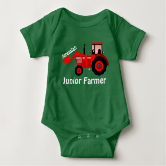 """Personalized """"Junior Farmer"""" and Red Tractor Baby Bodysuit"""