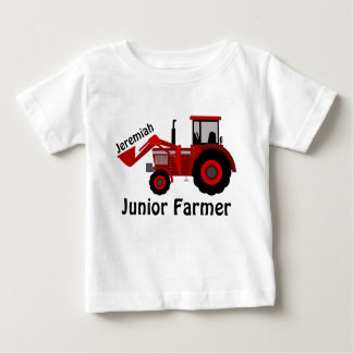"Personalized ""Junior Farmer"" and Red Tractor Baby T-Shirt"